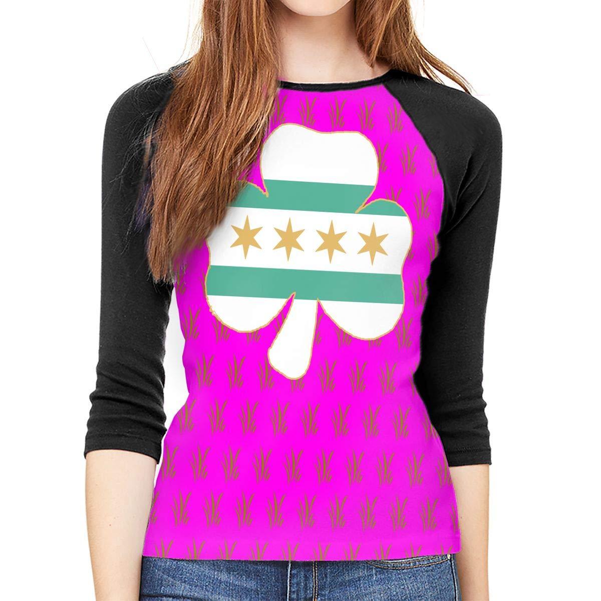 XYMYFC-E Irish Shamrock Chicago Flag Adult Womens Long Sleeve T Shirt