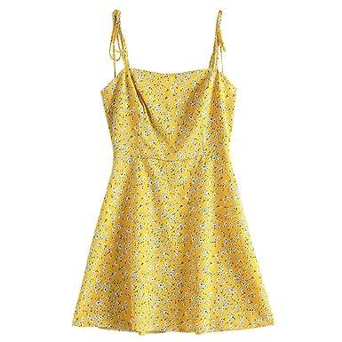 9e01165f53c ZAFUL Women s Mini Dress Spaghetti Straps Sleeveless Boho Beach Dress (S