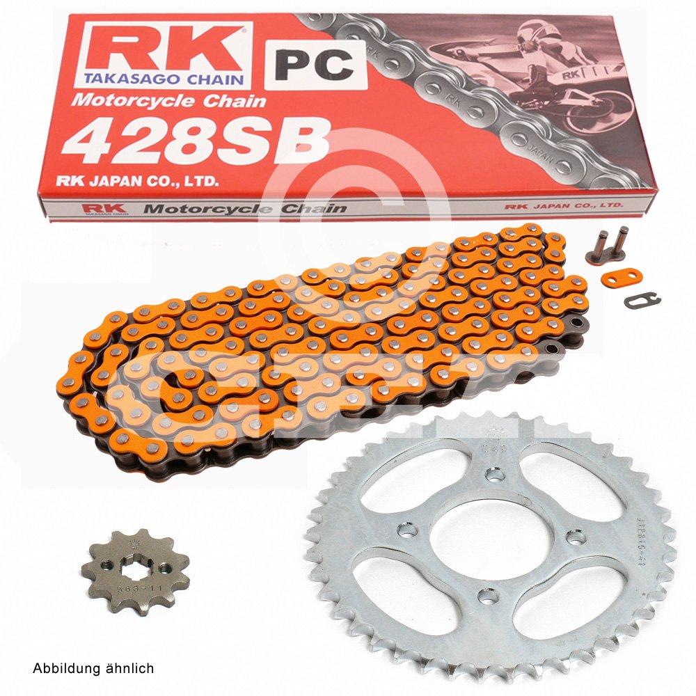 Kettensatz Yamaha TDR 125 93-02, Kette RK PC 428 SB 136, offen, ORANGE, 16/57 RK JAPAN Co. Ltd. 5008-0102-PC