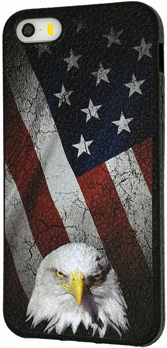 Good-Luck iPhone SE Case,iPhone 5/5s Case,Bald Eagle American Flag Slim Anti-Scratch Shockproof Leather Grain Soft TPU Back Protective Cover Case for iPhone SE/5/5S