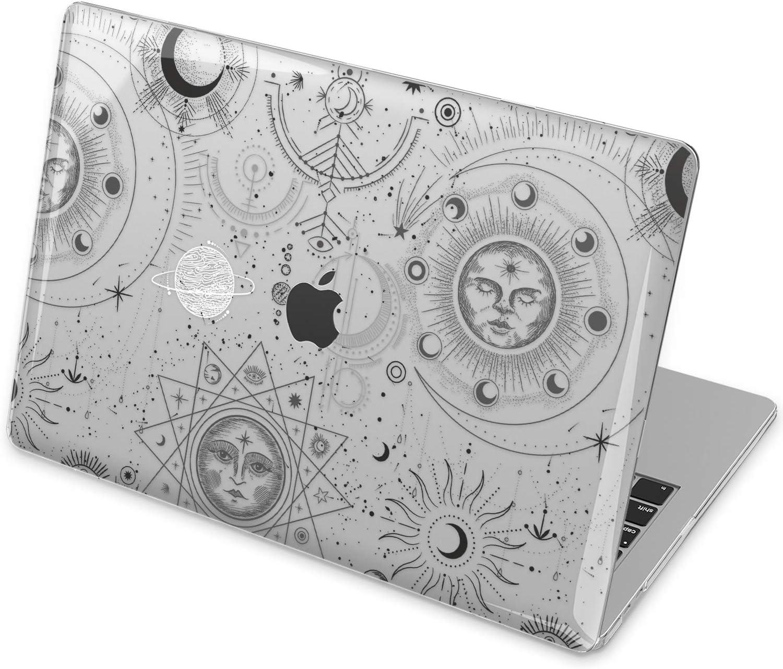 Vonna Hard Case Replacement for Apple MacBook Pro 16 2019 Pro 13 2020 Retina 15 Air 13 Mac Air 11 Mac 12 Cover Bohemian Celestial Black Graphic Moon Phase Design Touch Bar Print Plastic Sun vm1276