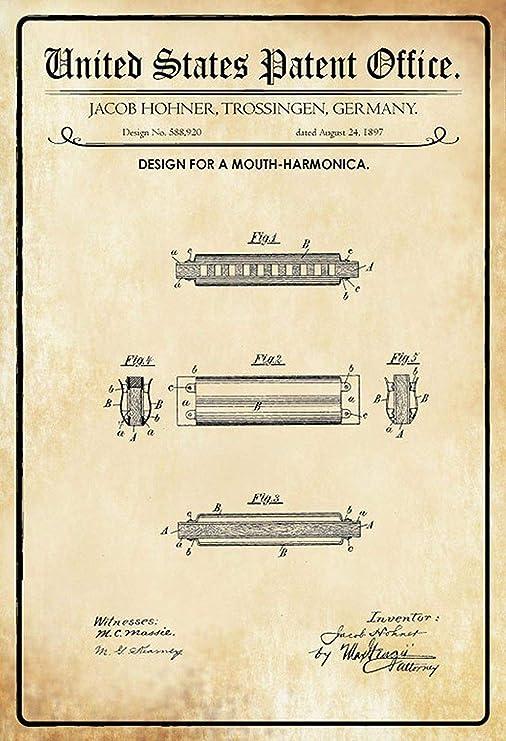 Mundharmonika Hohner Póster De Pared Metal Retro Placa ...