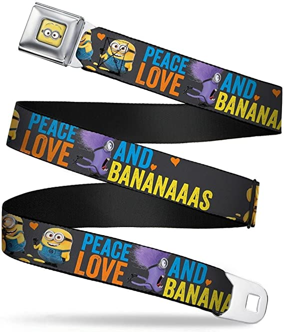 32-52 Inches in Length Jerry//Stuart//Evil Minion1 PEACE LOVE AND BANANAAAAAS 1.5 Wide Buckle-Down Seatbelt Belt