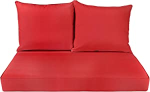 BOSSIMA Patio Furniture Cushions Comofort Deep Seat Loveseat Cushion Indoor Outdoor Seating Cushions Bright Red