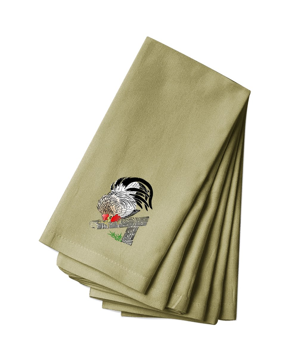 Style in Print Cotton Canvas Dinner Napkin Set Of 4 Cock Rooster Animal Image By by Style in Print