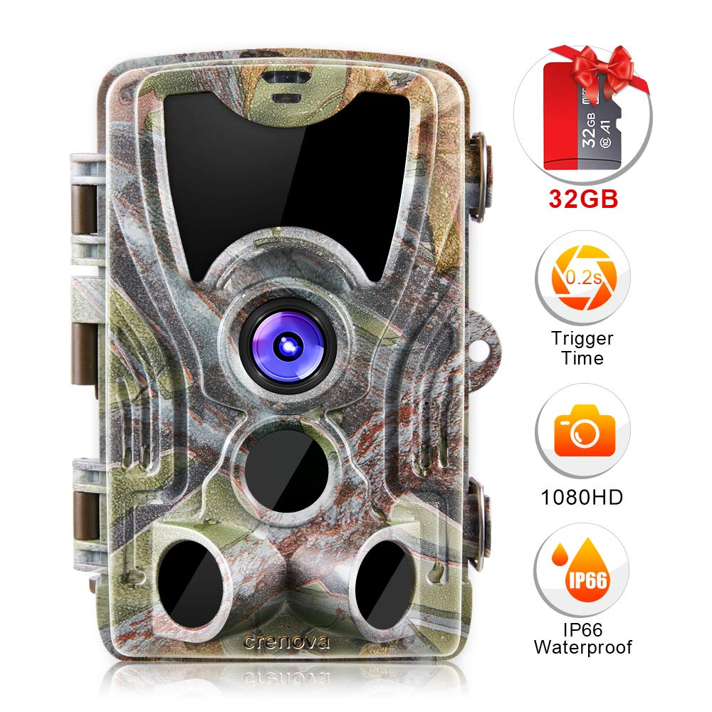 Crenova 20MP Hunting Trail Camera 32GB Micro Card Included Max up to 64GB Updated to 940nm IR LEDs and IP 66 Waterproof Game Camera 1080 P Motion Activated Night Vision Wildlife Cameras by Crenova