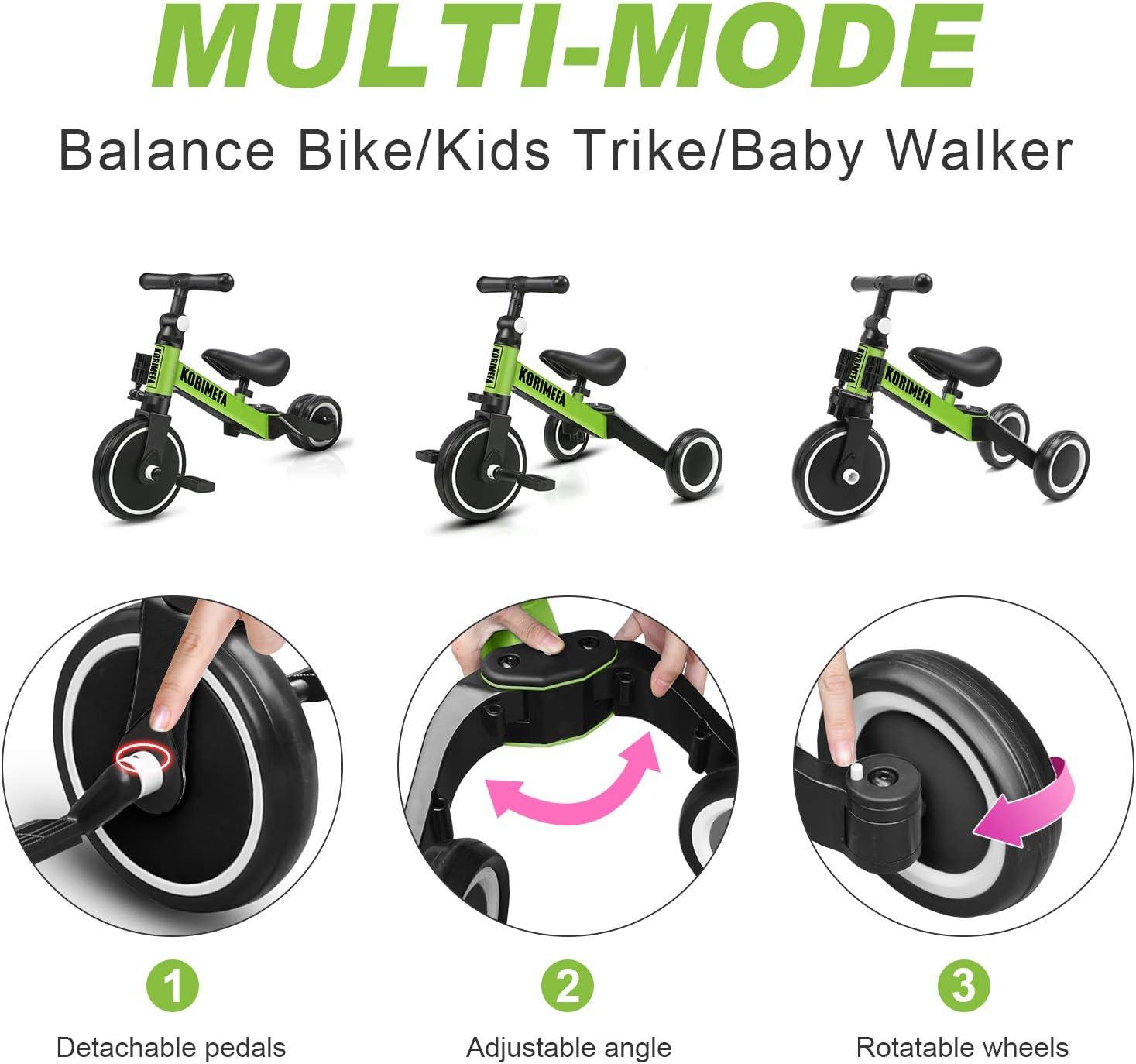 KORIMEFA 3 in 1 Triciclo Bambini 1 Anno Bicicletta Senza Pedali 2 Anni Bambini Triciclo per Bambini 1-3 Anni (Verde) Verde+