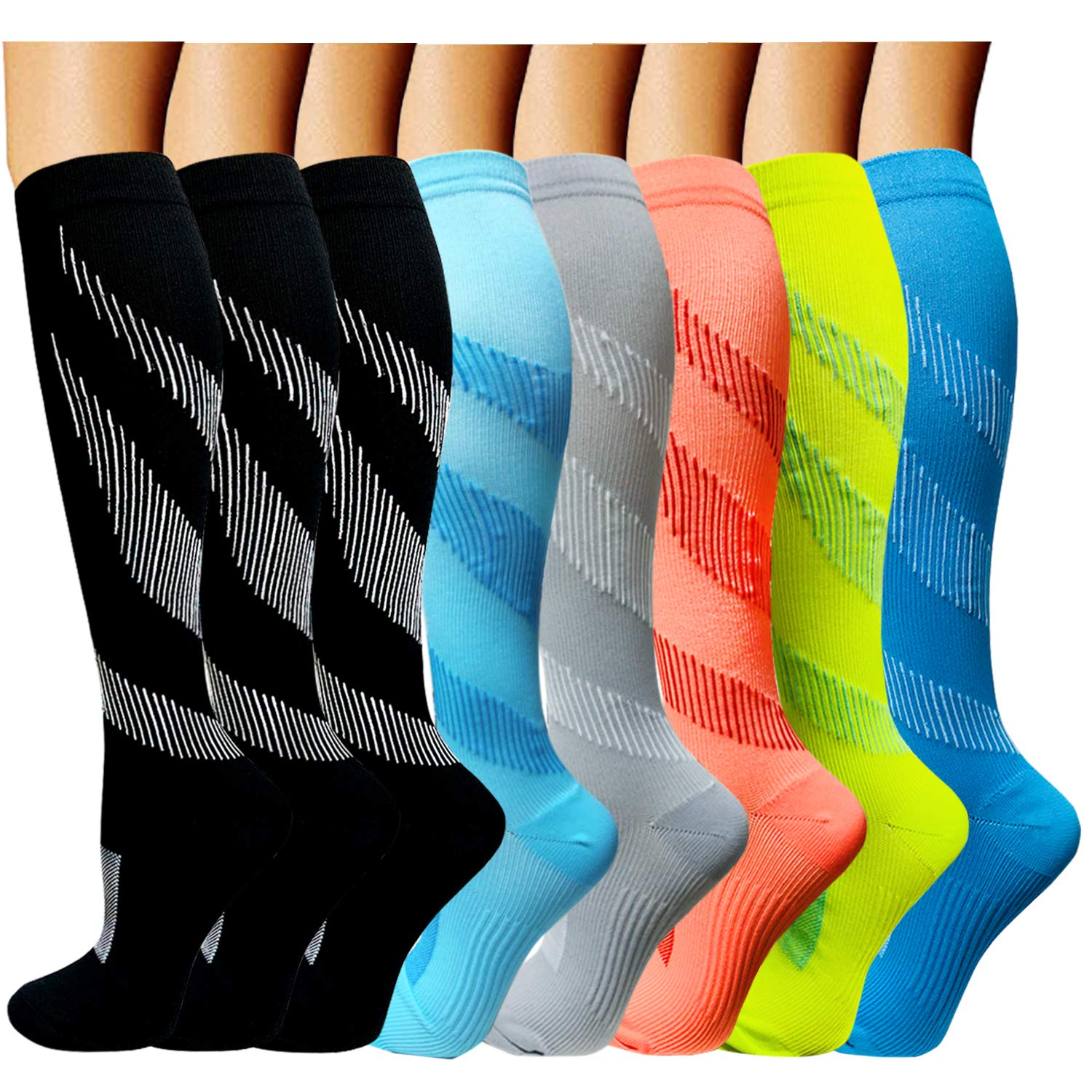 ACTINPUT Compression Socks Women & Men 15-20mmHg - Best Medical,Nursing,Hiking,Travel & Flight Socks-Running & Fitness (Large/X-Large, Assorted 3-8 Pack) by ACTINPUT
