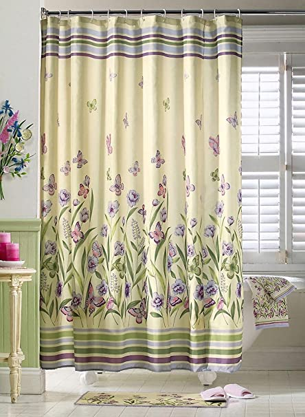 Amazon.com: Butterfly Garden Pastel Shower Curtain by Collections ...