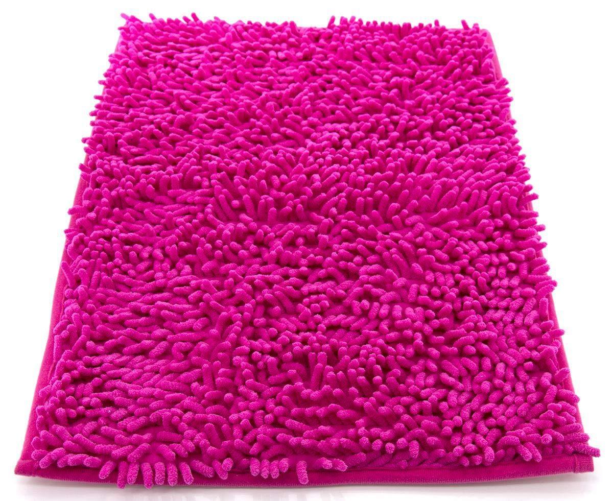 tappeto da bagno camera ingresso e cucina, a pelo lungo 2.5 cm, materiale in microfibra, scendi doccia morbida, assorbente, lavabile in lavatrice, retro in gomma antiscivolo arancione 40x60cm 204029