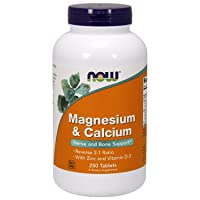 NOW Supplements, Magnesium & Calcium, With Zinc and Vitamin D-3, Nerve and Bone...