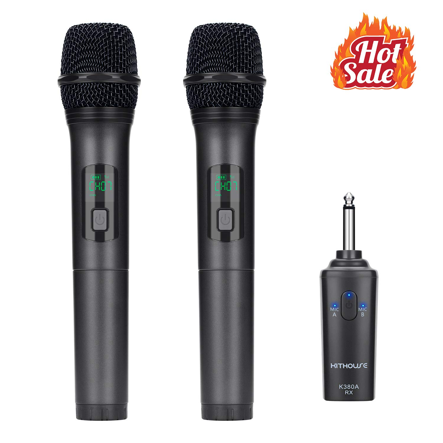 Kithouse K380A Wireless Microphone Karaoke Bluetooth Microphone Wireless With Rechargeable Receiver System - UHF Dual Handheld Dynamic Mic Set For Karaoke Singing Speech Church (Elegant Black)