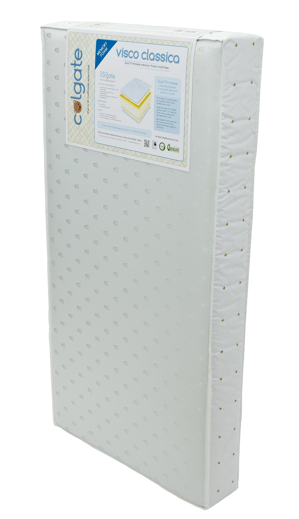 Colgate Visco Classica - Foam Crib Mattress and Memory Foam Toddler Side with Waterproof Cover