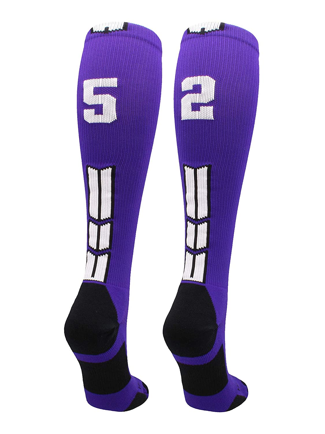 Player Id Jersey Number Socks Over the Calf Length Purple and White MadSportsStuff