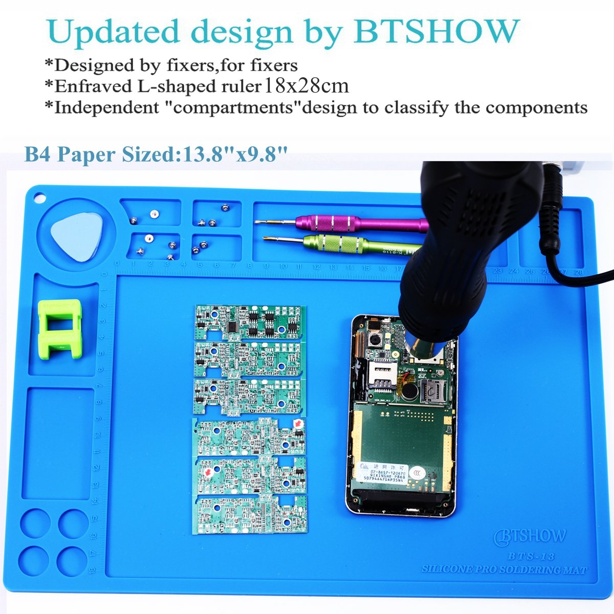 Btshow Soldering Mat Silicone Heat Resistant 954f Doityourself Diy Double Sided Pcb Circuit Board Etching Do It Materials Electronics For Gun Iron Station Cellphone Repair