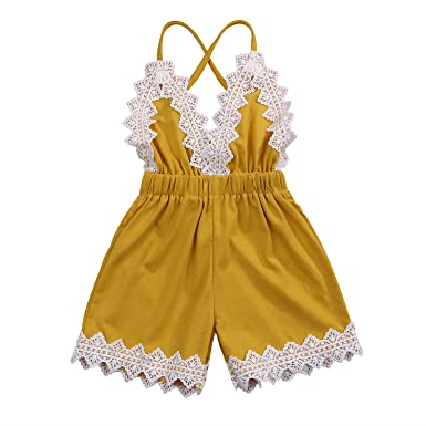 14fdf6784791 Toddler Baby Girls Lace Trim Backless Romper Halter One-Pieces Jumpsuit  Outfit Clothes 0-