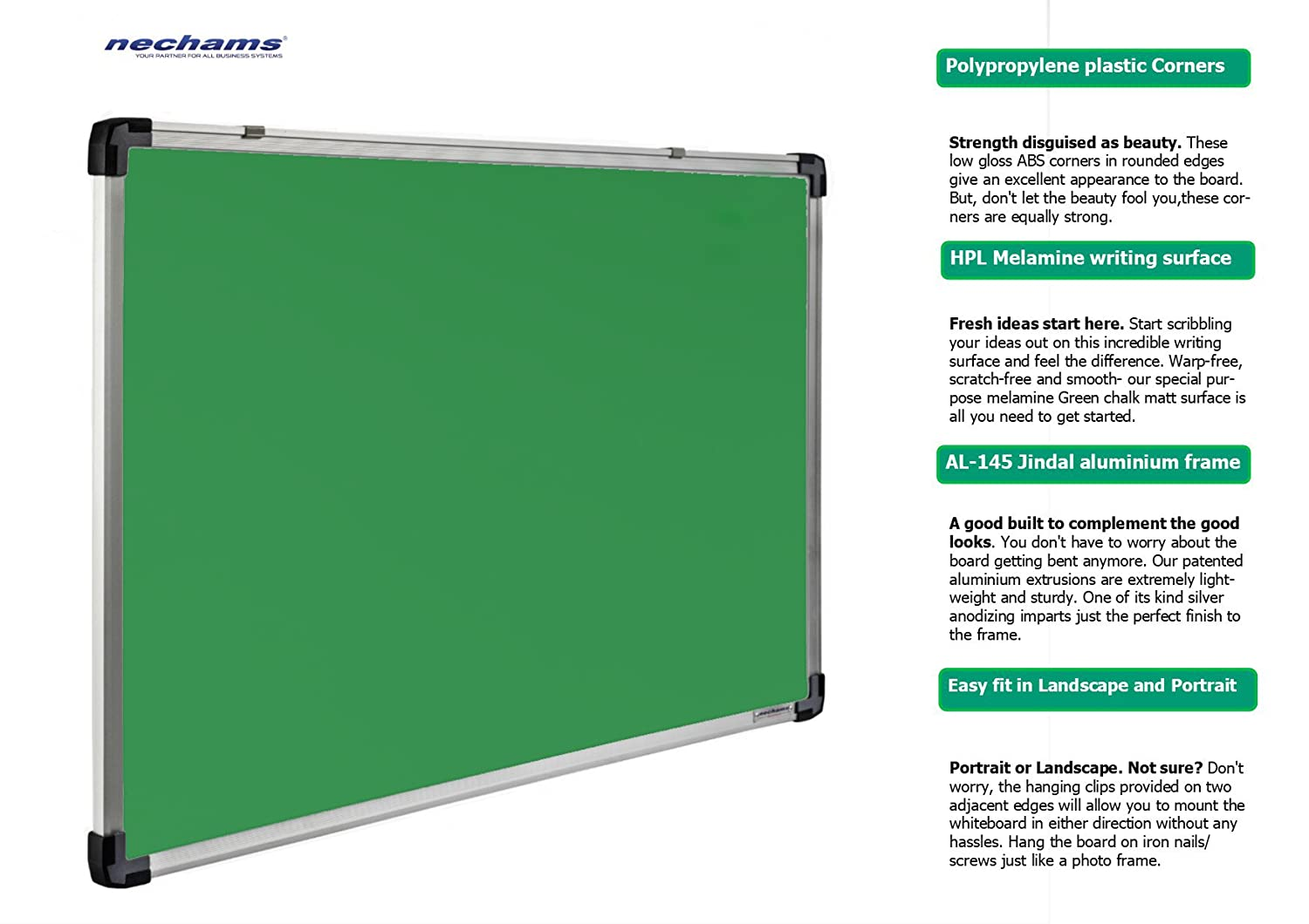 Nechams Non Magnetic Chalkboard with Lightweight Aluminium Frame (Green,  1 5x2ft)