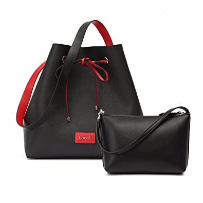 f3facf79c587 Amazon.com  Kadell Drawstring Bucket Bag for Women Cinch Sack Handbag PU  Leather Purse Tote Black  Shoes