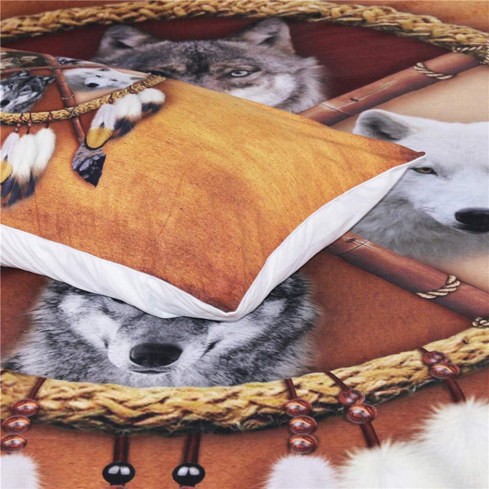 ZMK-720 Conjunto De Ropa De Cama De Lobos Indio Americano Nativo Lobo Funda N/órdica Occidental Salvaje Animal Tribal 3D Cubierta De Cama 3Pcs @ 173 218 Cm