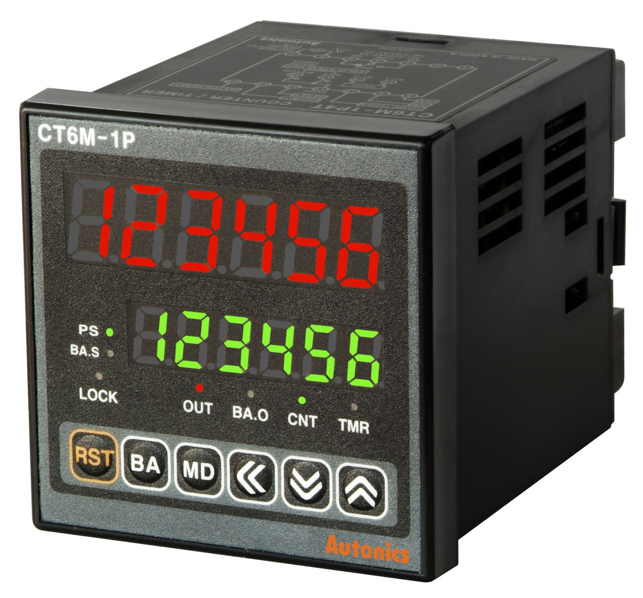 AUTONICS CT6M-2P4 Counter&Timer, W72xH72mm, 6-Digit, LED, 2 Preset, 2 Relay & 3 NPN Output,100-240 VAC.. by Autonics USA, Inc