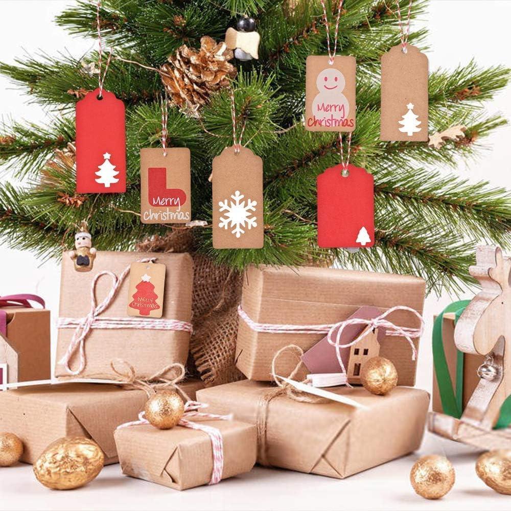 Papieranh/änger Tags Karten f/ür Geschenk zum Basteln Evance 200stk Weihnachten Kraftpapier Anh/änger Etiketten Geschenkanh/änger und 20 Jute Schnur und 20M B/änder Baumwolle Schnur Braun