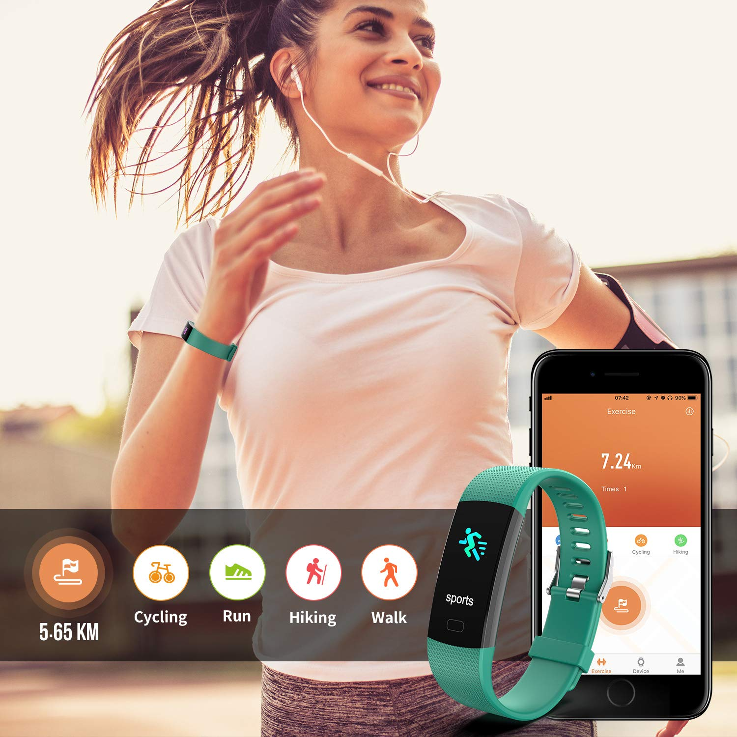 Fitness Tracker HR, Y1 Activity Tracker Watch with Heart Rate Monitor, Pedometer IP67 Waterproof Sleep Monitor Step Counter for Android & iPhone (Green) by Akuti (Image #3)