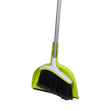 Casabella Basics Broom with Dustpan, Silver and Green