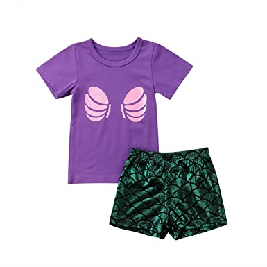 a77dcb44549b Emmababy Infant Baby Girls Outfit Summer T Shirt Shell Print Top+ ...