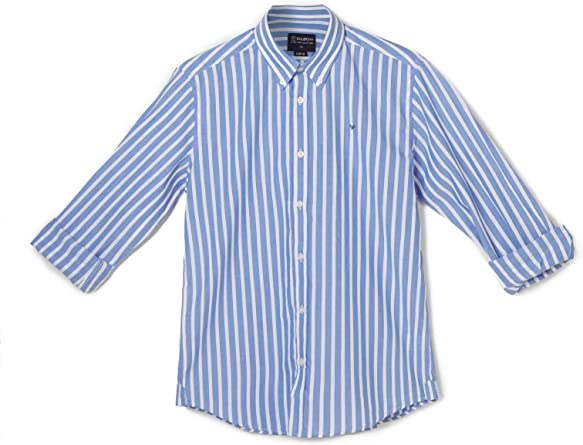 SILBON - Camisa Sport Raya Ancha Blue para Hombre: Amazon.es ...