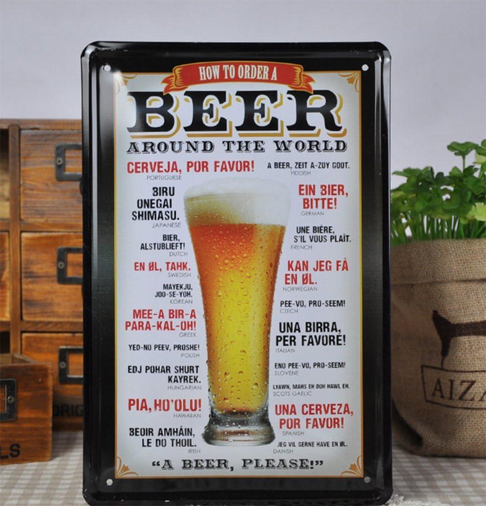 1 Club Decorazione 20 * 30CM DaoRier Targa in Metallo Retro pubblicit/à Parete Birra Cartello Pittura Poster Metallo Cartello per Bar