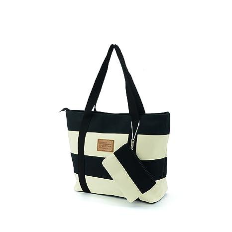 7c52dbd5e82d Amazon.com  Lustear Large Nylon Tote Bags Shoulder Bag (Black)  Shoes