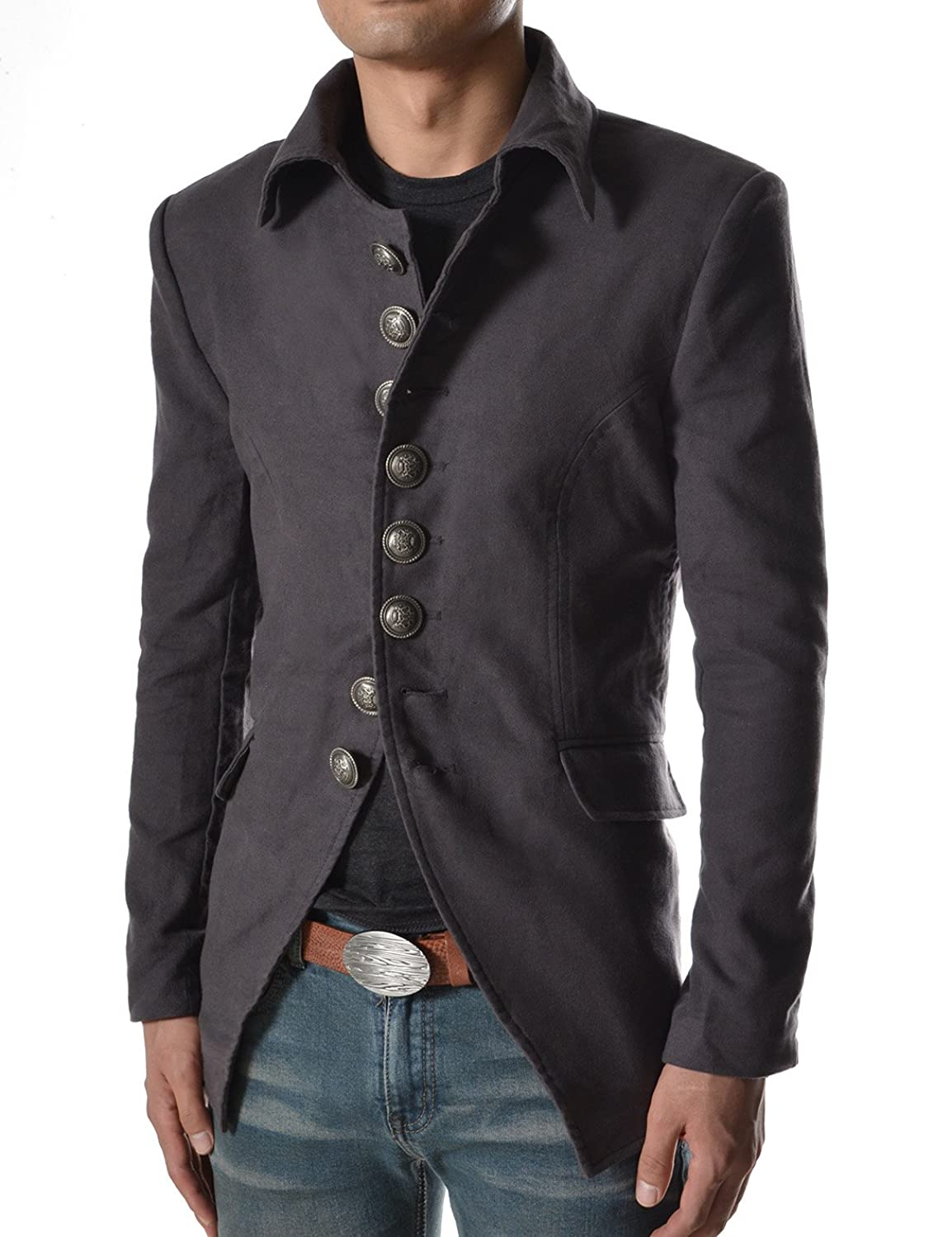 Men's Steampunk Jackets, Coats & Suits 737 THELEES Mens Luxury UNIQUE Style Slim fit 8 Button Front Blazer Jacket $59.50 AT vintagedancer.com