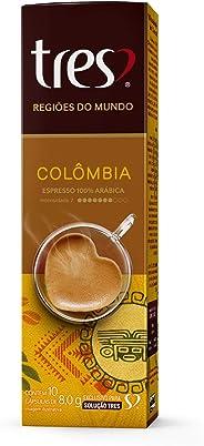 Cápsulas de Café Espresso Regiões do Mundo Colômbia Três, Compatível com Sistema Tres, Contém 10 Capsulas