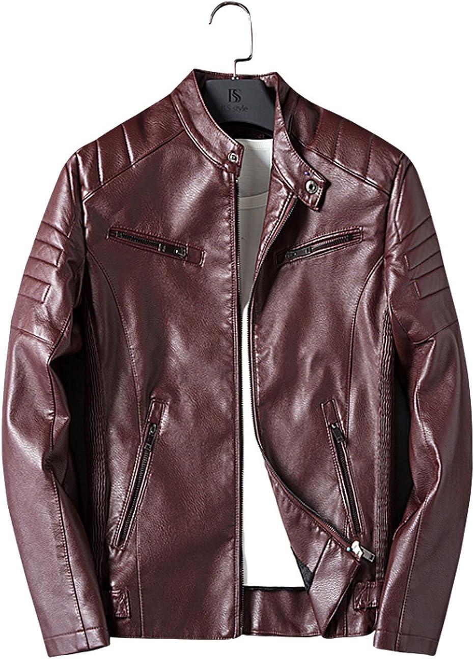 YangguTown YGT Mens Motor Fashion PU Leather Slim Stand Collar Jackets Short Coat