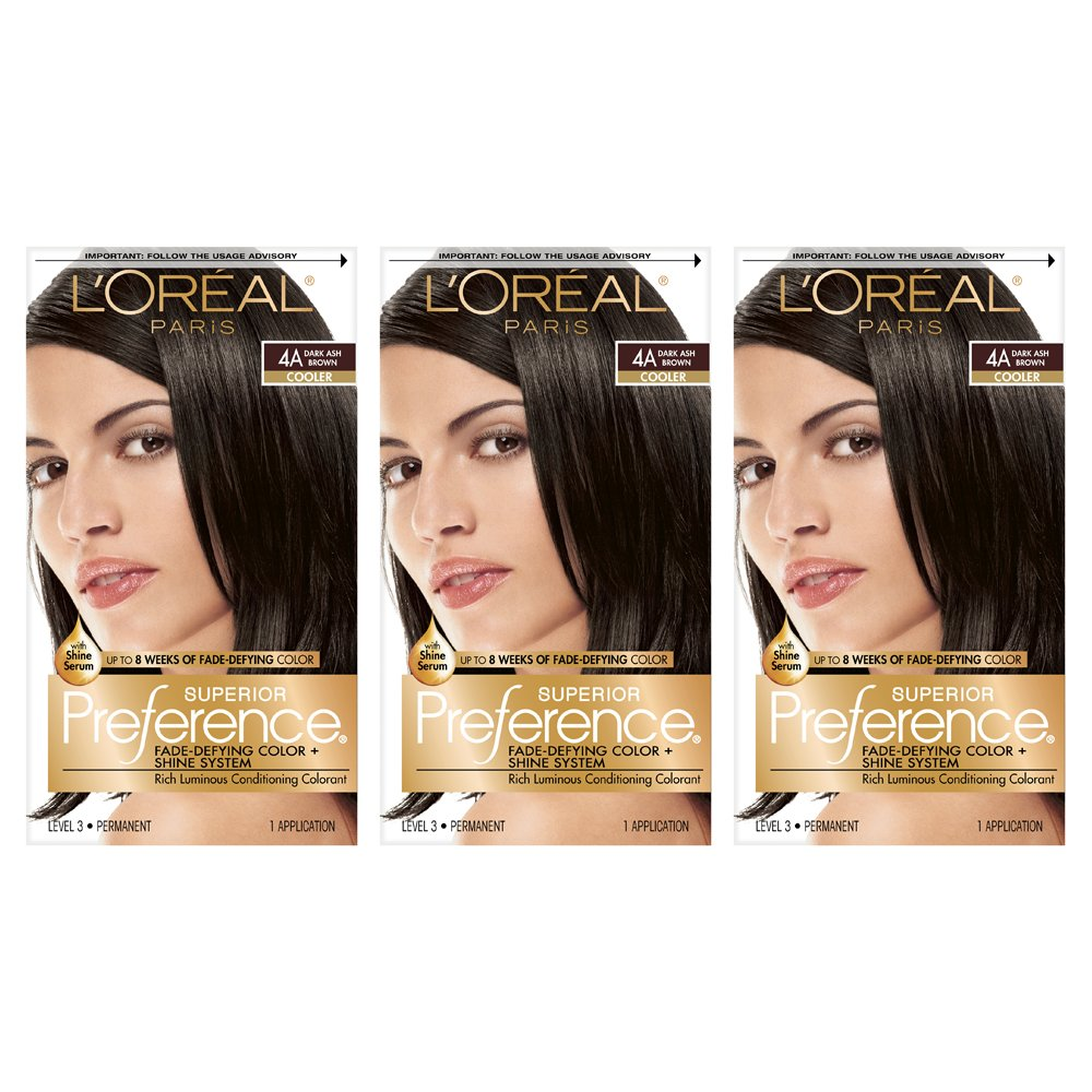 L'Oréal Paris Superior Preference Fade-Defying + Shine Permanent Hair Color, 4A Dark Ash Brown, 3 COUNT Hair Dye
