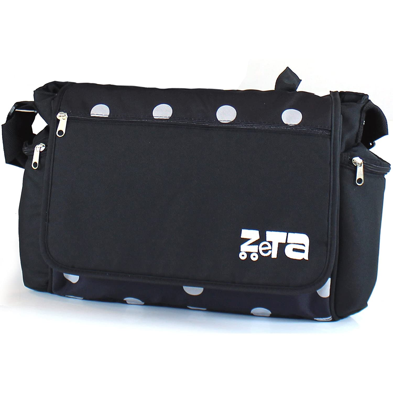 Navy Dots Baby Travel ZETA Large Luxury Changing Bag Complete With Changing Matt Black,Red,Plum For ZETA Vooom Stroller Pushchair Pram Changing Bag