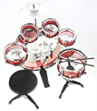 PowerTRC Musical Drum Instrument Set | Toy Drum For Kids | Set Includes 6 Drums, Cymbal, Chair, Kick Pedal, Drumsticks (Red)