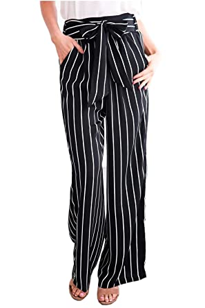 22e9efc15dd Amazon.com  Geckatte Womens Striped Palazzo Belted High Waisted Elegant  Work Flowy Wide Leg Pants  Clothing