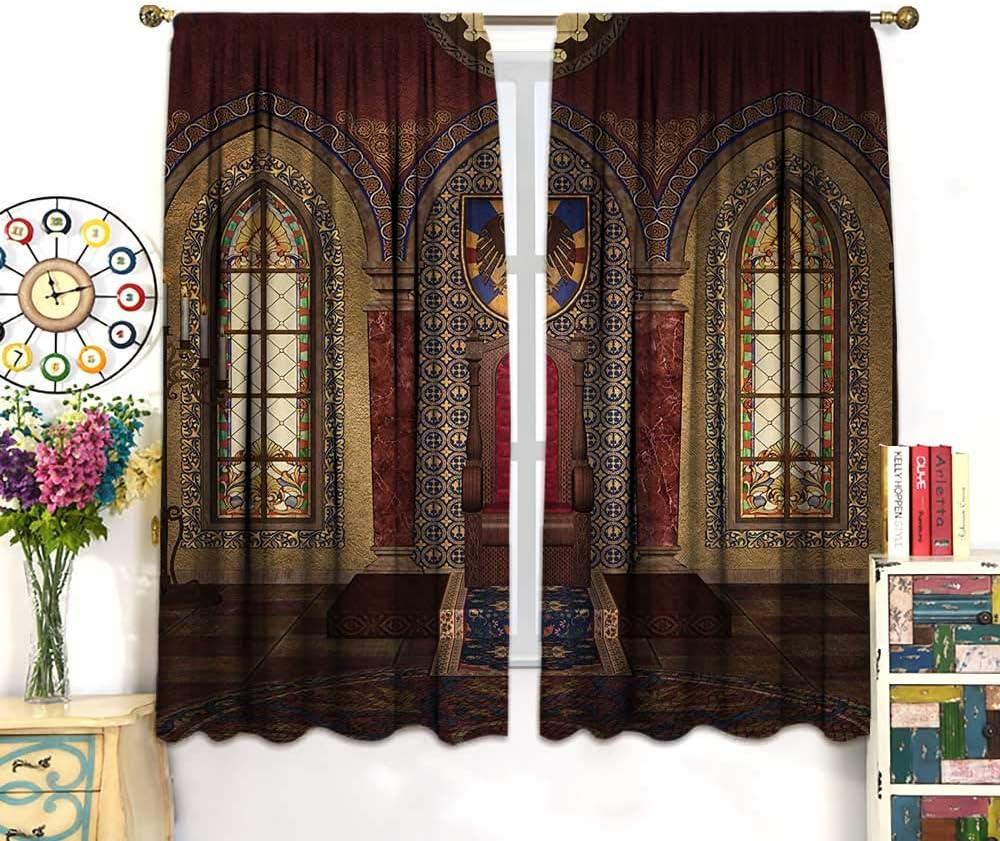 Cortinas góticas de Pasaje Antiguo Pasaje Escaleras Secret Gateway Mystical Pillars Medieval con aislamiento térmico Cortinas de ventana de salón, juego de 2 paneles naranja salmón marrón oscuro: Amazon.es: Hogar
