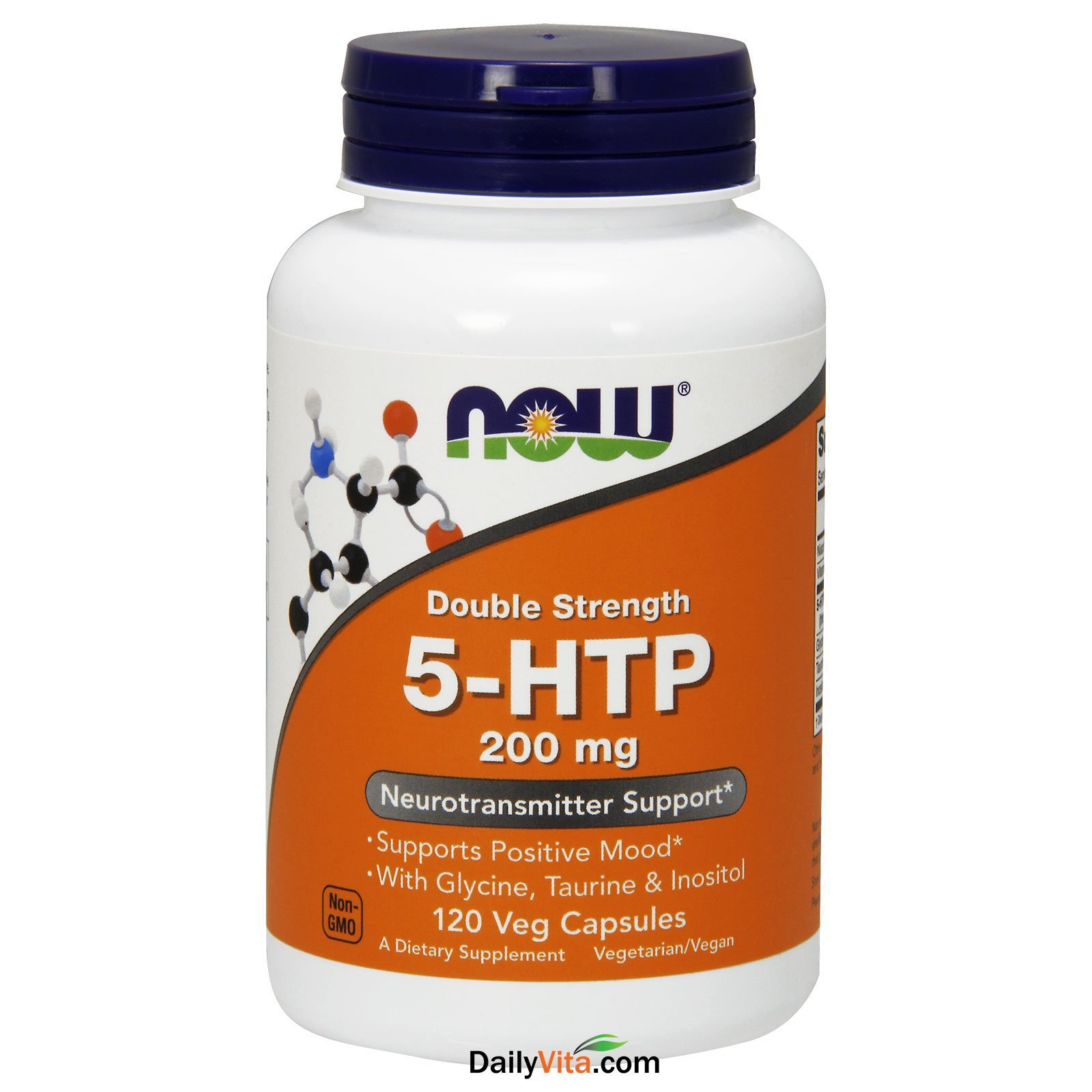 Now Foods Double Strength 5-HTP 200 mg (120 vc) 8 Pack
