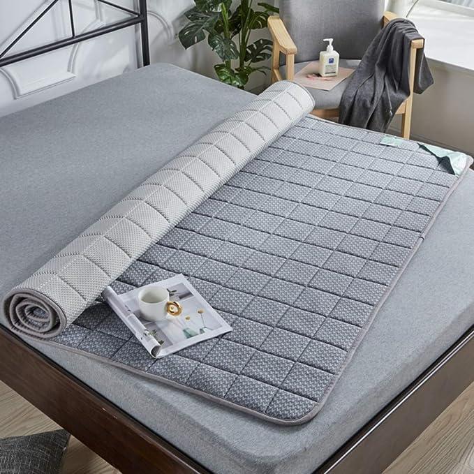 Látex No Era-Slip Futón Topper Cama,algodón Hecho Punto Tatami Ground Mat Plegable Colchón Respirable Solo Doble Mat Sleeping Pad-a 120x200cm(47x79inch): Amazon.es: Hogar