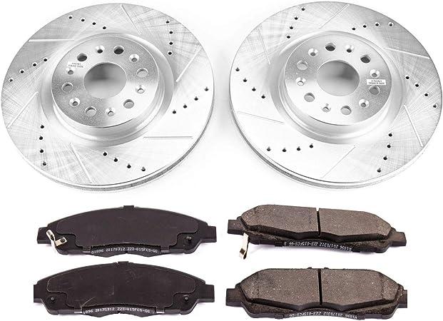 Coated Rotors /& Ceramic Brake Pads Power Stop CRK6800 Z17 Evolution Coated Rotor Rear Brake Kit