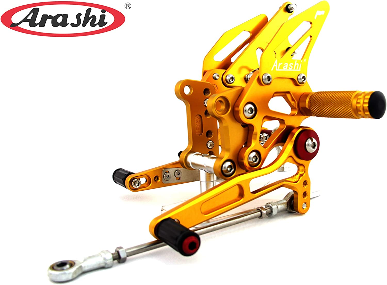 Arashi Rearsets Footrests FootPegs for KAWASAKI NINJA 250R EX250J SE 2008-2012 Motorcycle Accessories Adjustable Foot Peg Rest NINJA250R 250 R EX 250 J 1 Set Gold 2009 2010 2011