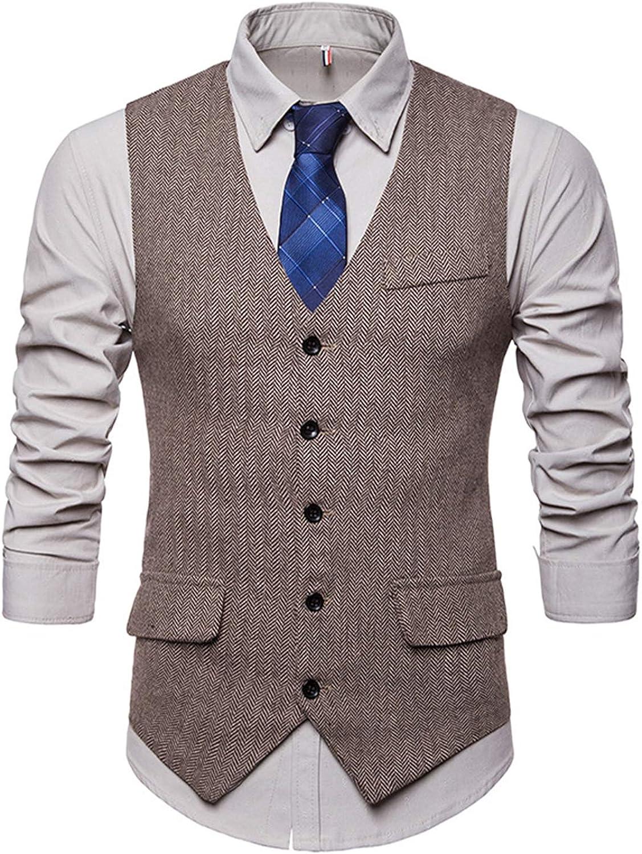 JOLIME Gilet Panciotto Uomo Vintage in Tweed Herringbone Scollo a V Giacca Blazer Senza Maniche