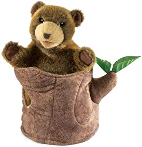 Folkmanis Bear in Tree Stump Hand Puppet