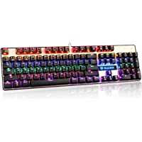 SADES K10 PC Mac Mechanical Gaming Keyboard USB Wired LED Backlit Metal Panel with Blue Switches (Black/Gold)