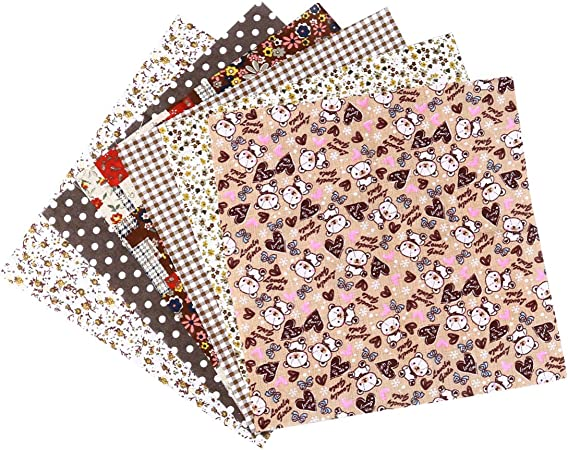 SUPVOX 7 Piezas de Tela de algodón para Manualidades, Cuadrados, Pelusas, patrón Floral para Manualidades, Costura, Acolchados, álbumes de Recortes, algodón, café, 25 x 25 cm: Amazon.es: Hogar
