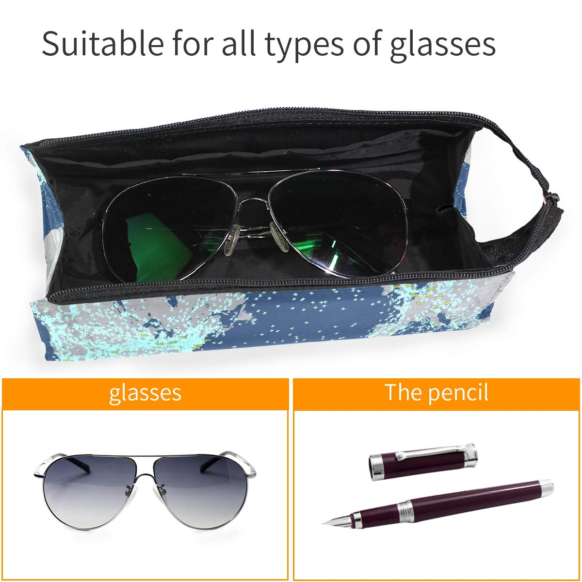 Glasses Case Sunken Ship Travel Soft Sunglasses Pen Bag Protective Purse