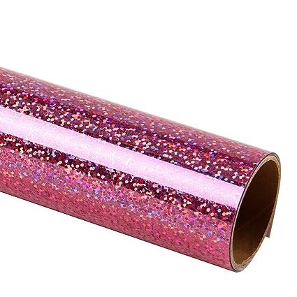 RUSPEPA Hologram Heat Transfer Vinyl - Laser Foil Glitter HTV Iron-on  T-Shirt, Hoodie, Hats and More Fabric Garments - 19 5X12 Inch - Hot Pink