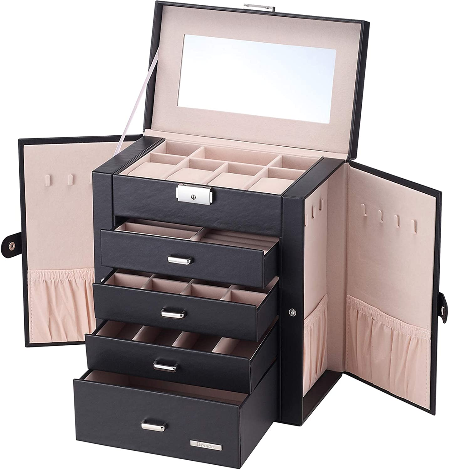Amazon Com Homde Synthetic Leather Huge Jewelry Box Mirrored Watch Organizer Necklace Ring Earring Storage Lockable Gift Case Black Home Improvement